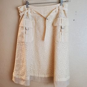 Cynthia Steffe Cream Eyelet Lace A Line Boho Skirt